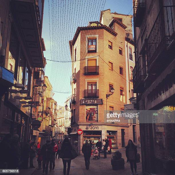 Toledo streets with shops and people, Spain