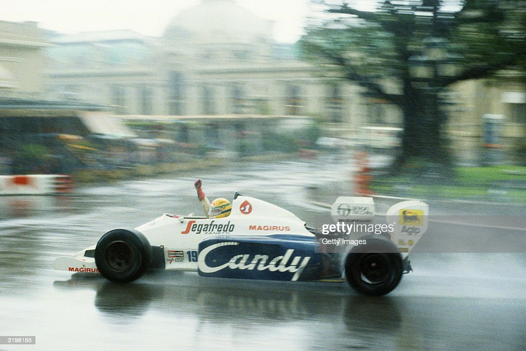 Toleman driver Ayrton Senna of Brazil in action during the F1 Monaco Grand Prix held on June 3, 1984 at the Brands Hatch circuit in Monte Carlo, Monaco.