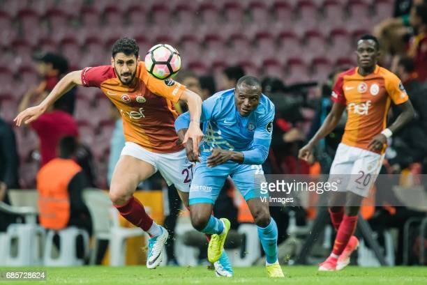 Tolga Cigerci of Galatasaray Aminu Umar of Osmanlispor Futbol Kulubu Armindo Bangna of Galatasarayduring the Turkish Spor Toto Super Lig football...