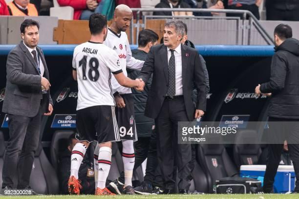 Tolgay Ali Arslan of Besiktas JK Anderson Souza Conceicao of Besiktas JK coach Senol Gunes of Besiktas JK during the UEFA Champions League round of...