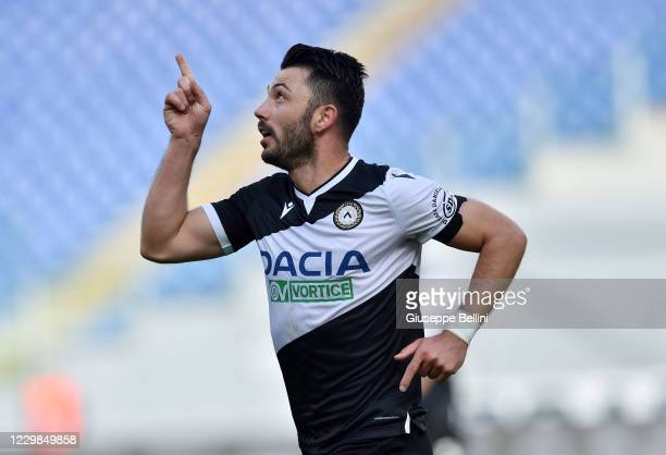 Tolgay Ali Arslan of Udinese Calcio celebrates after scoring opening goal during the Serie A match between SS Lazio and Udinese Calcio at Stadio...