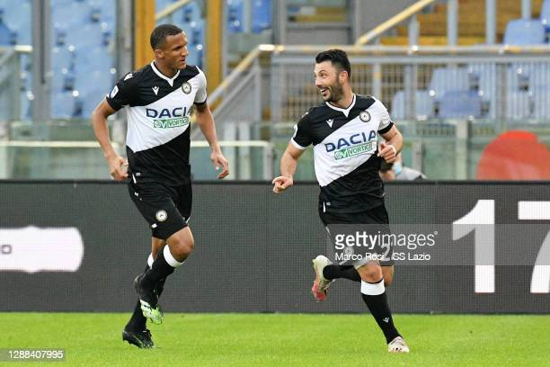 Tolgay Ali Arslan of Udinese Calcio celebrates the opening gaol during the Serie A match between SS Lazio and Udinese Calcio at Stadio Olimpico on...