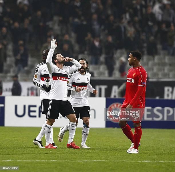 Tolgay Arslan of Besiktas celebrates after scoring a goal during the UEFA Europa League Round of 32 match between Besiktas and Liverpool at Ataturk...