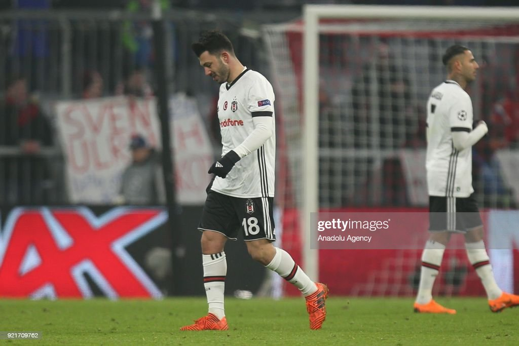 Tolgay Arslan of Besiktas is disappointed at the end of the UEFA Champions League Round of 16 soccer match between FC Bayern Munich and Besiktas at the Allianz Arena in Munich, Germany, on February 20, 2018.