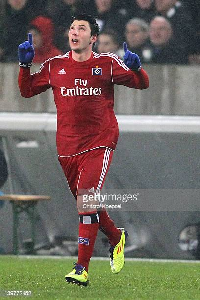Tolgay Arslan of Hamburg celebrates the first goal during the Bundesliga match between Borussia Moenchengladbach and Hamburger SV at Borussia Park...