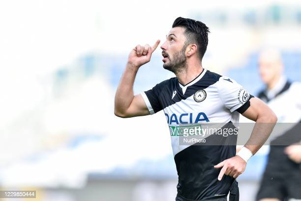 Tolgay Arslan of Udinese Calcio celebrates after scoring first goal during the Serie A match between SS Lazio and Udinese Calcio at Stadio Olimpico,...