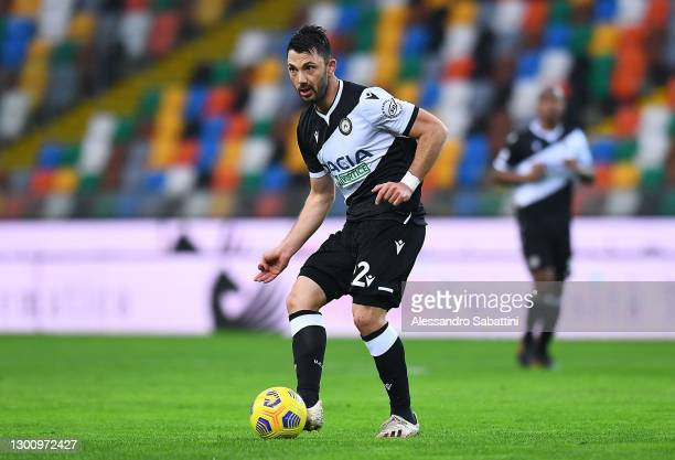 Tolgay Arslan of Udinese Calcio in action during the Serie A match between Udinese Calcio and Hellas Verona FC at Dacia Arena on February 07, 2021 in...
