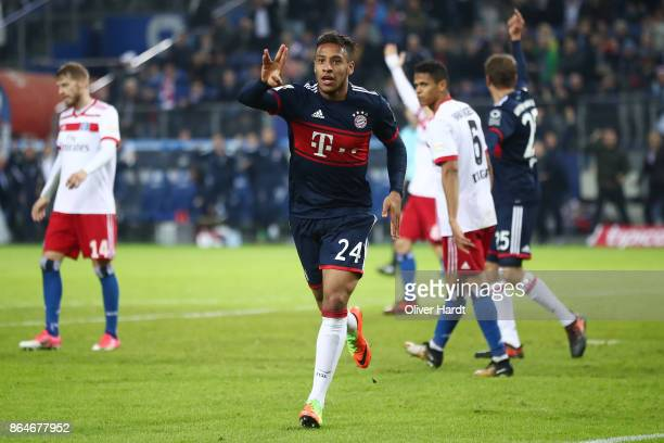 Tolisso of Bayern Muenchen celebrates after he scored his teams first goal to make it 01 during the Bundesliga match between Hamburger SV and FC...