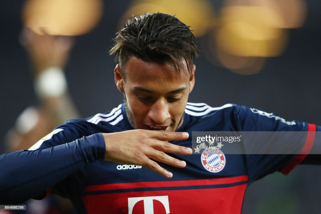 Tolisso of Bayern Muenchen celebrates after he scored his teams first goal to make it 0:1 during the Bundesliga match between Hamburger SV and FC Bayern Muenchen at Volksparkstadion on October 21, 2017 in Hamburg, Germany.