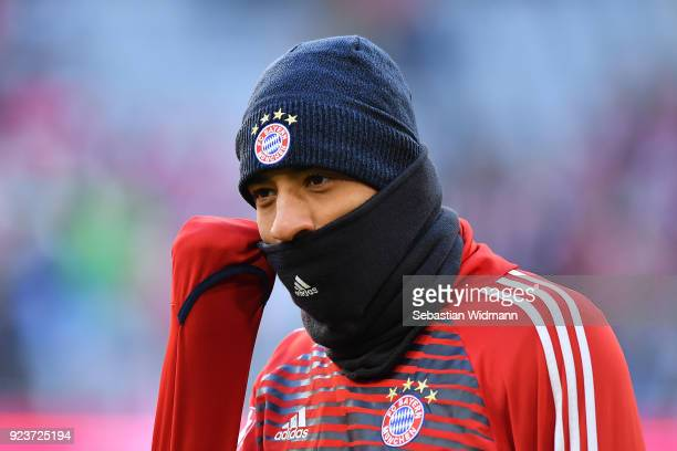 Tolisso of Bayern Muenchen covered with hat and scarf during warmup before the Bundesliga match between FC Bayern Muenchen and Hertha BSC at Allianz...