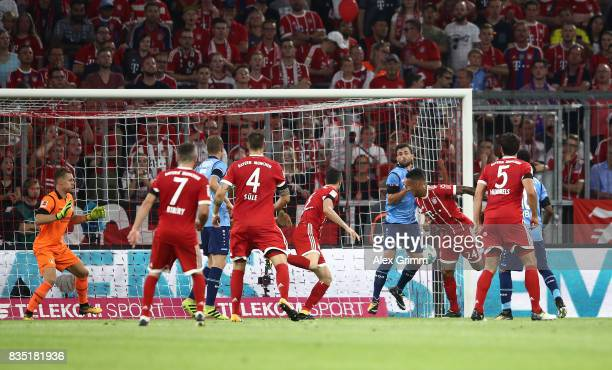 Tolisso of Bayern Munich scores during the Bundesliga match between FC Bayern Muenchen and Bayer 04 Leverkusen at Allianz Arena on August 18 2017 in...