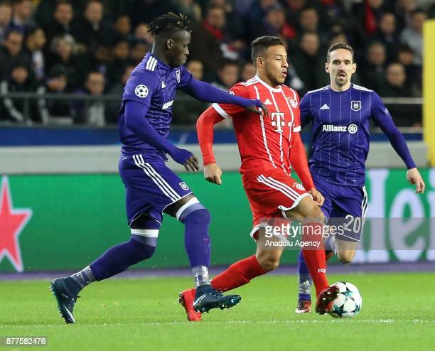 Tolisso of FC Bayern Munich in action against Kara Mbodj of Anderlecht during UEFA Champions League Group B soccer match between Anderlecht and FC...