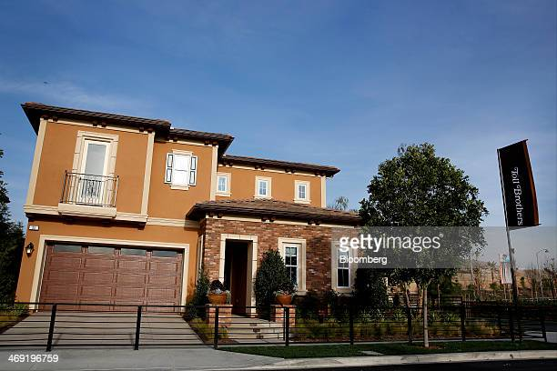 Toll Brothers Inc. Signage is displayed outside of a newly constructed model home in The Heights at Baker Ranch development in Lake Forest,...