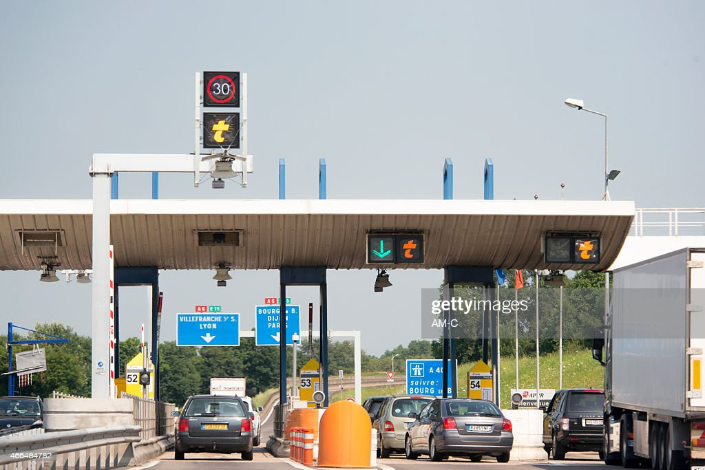 Toll gate at Macon in France : Stock Photo