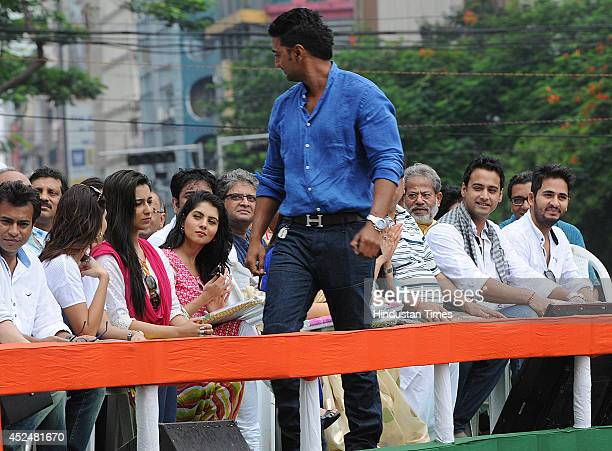 Tollywood stars during Shaheed Diwas rally organized by the TMC party at Esplanade on July 21 2014 in Kolkata India The Trinamool rally was held to...