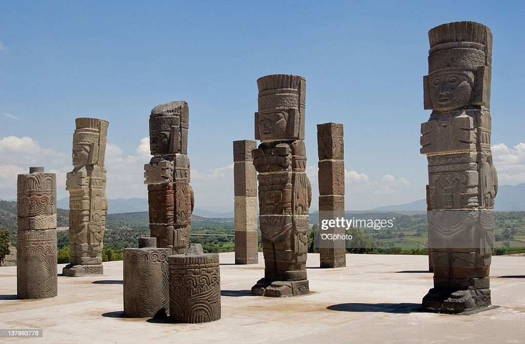 Toltec temple ruins in Tula, Mexico : Stock Photo