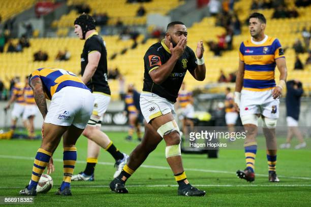 Tolu Fahamokioa of Wellington celebrates after scoring a try during the Mitre 10 Cup Championship Final match between Wellington and Bay of Plenty at...