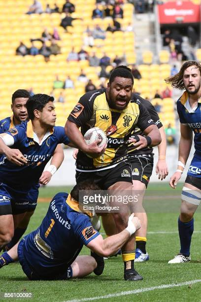 Tolu Fahamokioa of Wellington tackled by Craig Millar of Otago during the round seven Mitre 10 Cup match between Wellington and Otago on October 1...