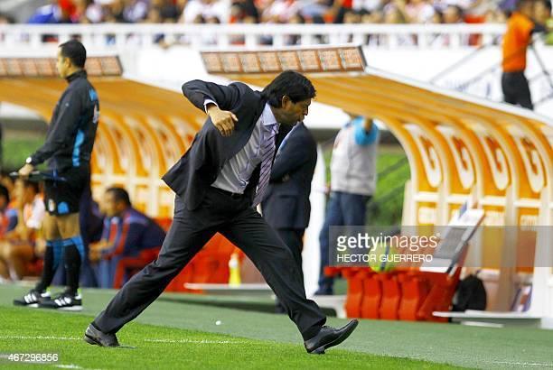 Toluca coach Jose Saturnino Cardozo gestures during their Mexican Clausura 2015 tournament football match against Chivas at Omnilife stadium in...