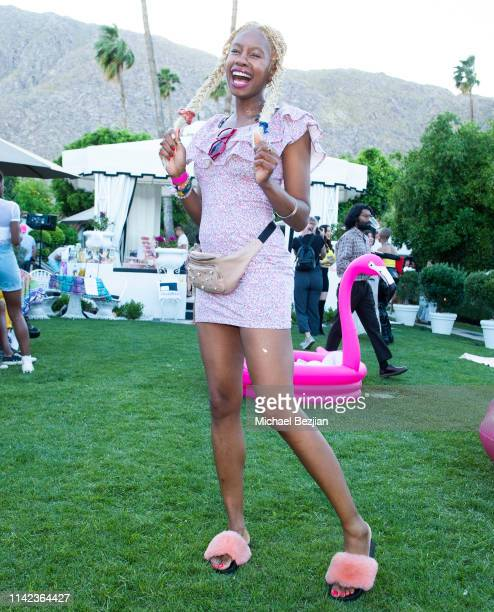 Tolula Adeyami poses for portrait at beGlammed Sunset Soiree Presented by Fullscreen on April 12 2019 in Palm Springs California