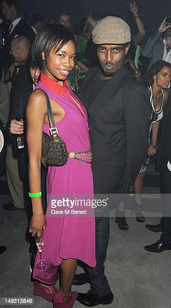 Tolula Adeyemi and Mason Smillie attend the Warner Music Group PreOlympics Party in the Southern Tanks Gallery at the Tate Modern on July 26 2012 in...
