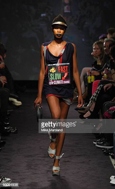 Tolula Adeyemi walks down the runway at the Anglomania show by Vivienne Westwood at Selfridges on November 16 2009 in London England