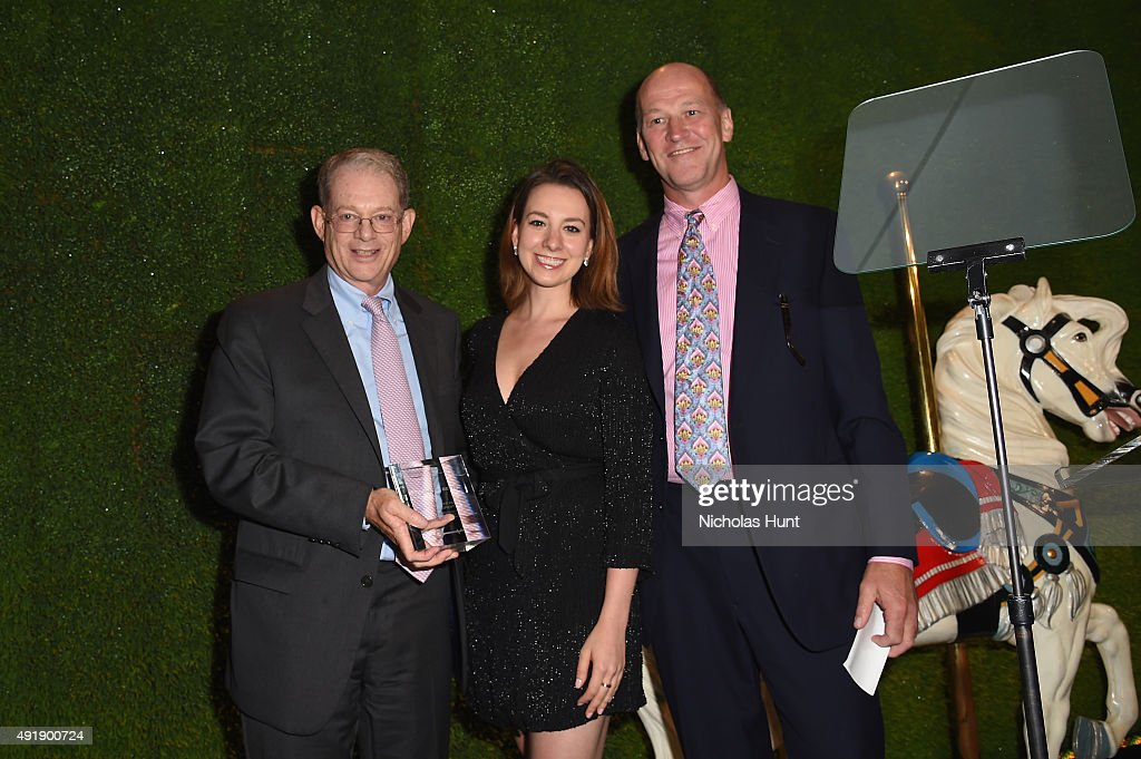 Tom A. Bernstein, Olympic Champion Figure Skater Sarah Hughes and David A. Tewksbury attend the 2015 Friends of Hudson River Park Gala at Hudson River Park's Pier 62 on October 8, 2015 in New York City.