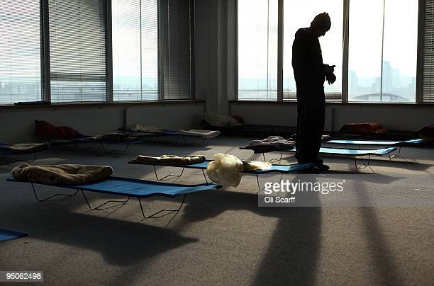 Tom a homeless man from London rests in the dormitory of a Christmas homeless shelter set up by the charity 'Crisis' on December 23, 2009 in London,...
