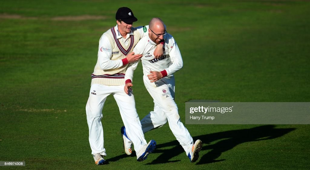 Tom Abell and Jack Leach of Somerset celebrate the wicket of Ryan McLaren of Lancashire during Day Three of the Specsavers County Championship Division One match between Somerset and Lancashire at The Cooper Associates County Ground on September 14, 2017 in Taunton, England.