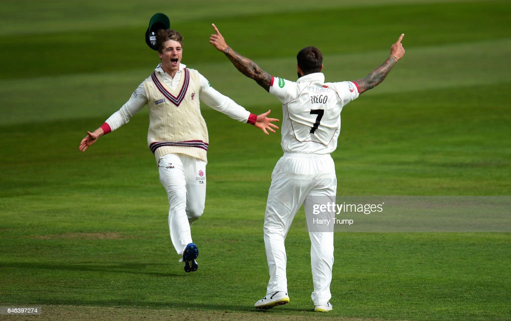 Tom Abell (L) and Peter Trego of Somerset (R) celebrates after dismissing Haseeb Hameed of Lancashire during Day Two of the Specsavers County Championship Division One match between Somerset and Lancashire at The Cooper Associates County Ground on September 13, 2017 in Taunton, England.