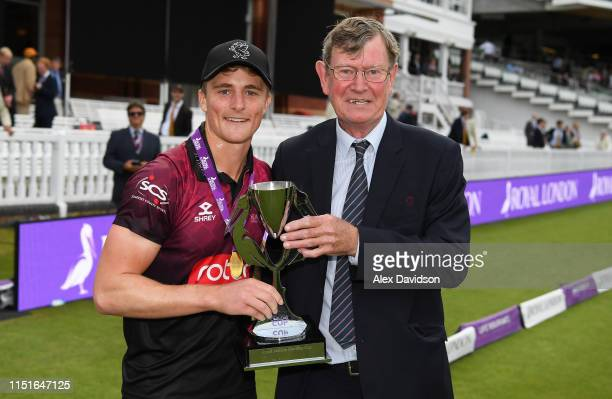 Tom Abell captain of Somerset and Brian Rose President of Somerset pose for a photo with the Royal London One Day Cup Trophy during the Royal London...