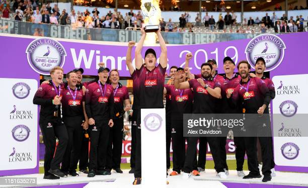 Tom Abell, captain of Somerset lifts the Royal London One Day Cup trophy with his teammates during the Royal London One Day Cup Final match between...