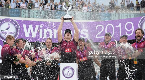 Tom Abell lifts the trophy after Somerset won the Royal London One Day Cup Final between Somerset and Hampshire at Lord's Cricket Ground on May 25,...
