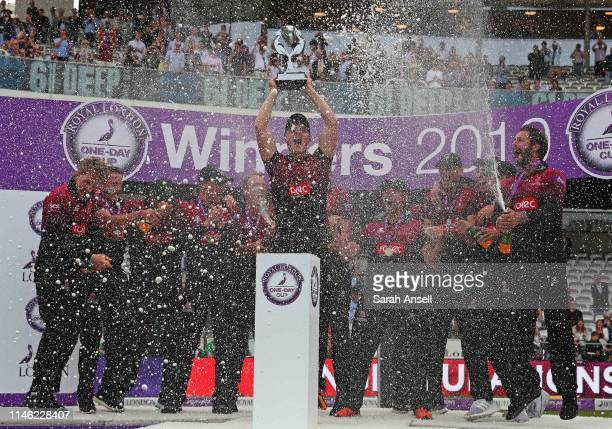 Tom Abell lifts the trophy as Somerset players celebrate victory at the end of the Royal London One Day Cup Final match between Somerset and...