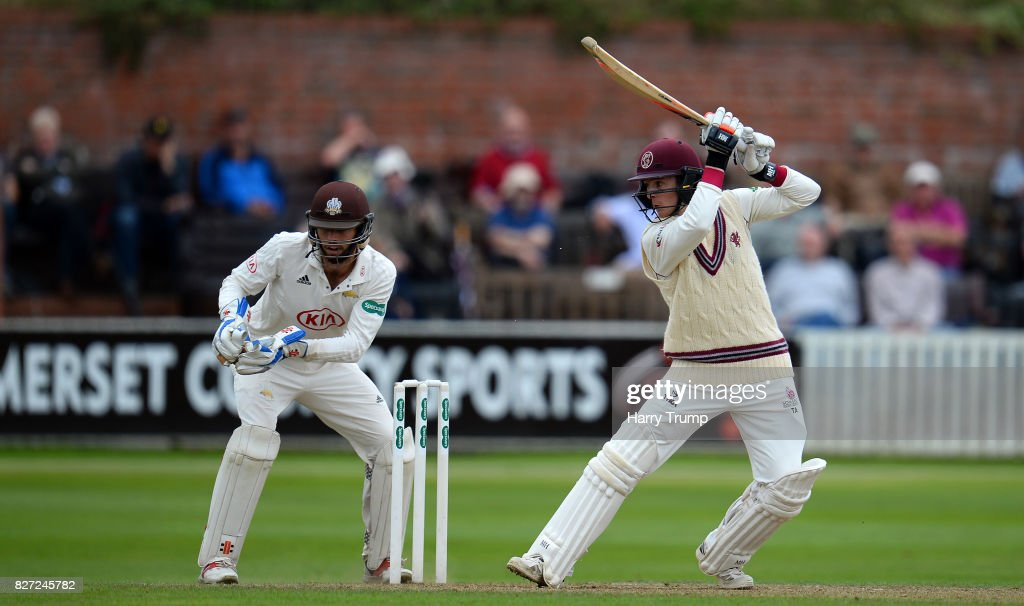 Tom Abell of Somerset bats during the Specsavers County Championship Division One match between Somerset and Surrey at The Cooper Associates County Ground on August 7, 2017 in Taunton, England.