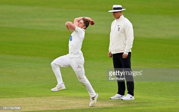Tom Abell of Somerset bowls during day four of the LV= Insurance County Championship match between Hampshire and Somerset at Ageas Bowl on May 09,...
