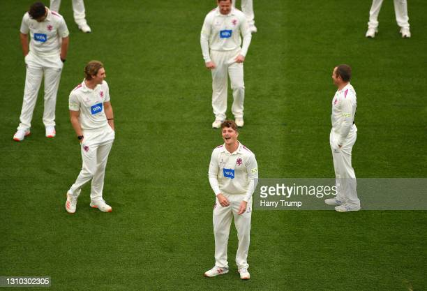Tom Abell of Somerset CCC reacts during a Somerset CCC Photocall at The Cooper Associates County Ground on April 01, 2021 in Taunton, England.
