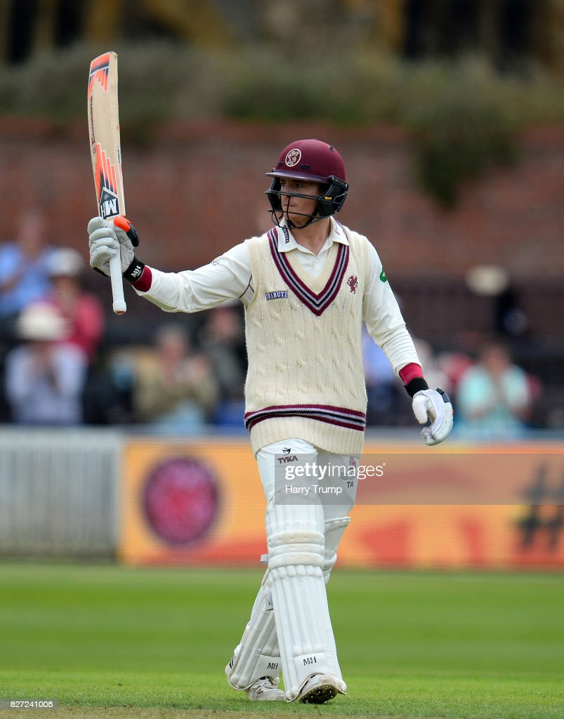 Tom Abell of Somerset celebrates his half century during the Specsavers County Championship Division One match between Somerset and Surrey at The Cooper Associates County Ground on August 7, 2017 in Taunton, England.