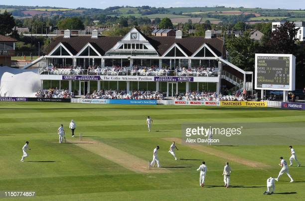 Tom Abell of Somerset celebrates taking the wicket of Liam Banks of Warwickshire during Day Two of the Specsavers County Championship match between...