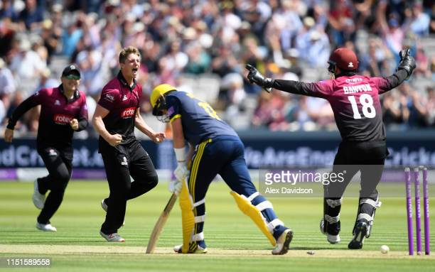 Tom Abell of Somerset celebrates the wicket of Sam Northeast of Hampshire with Tom Banton during the Royal London One Day Cup Final match between...