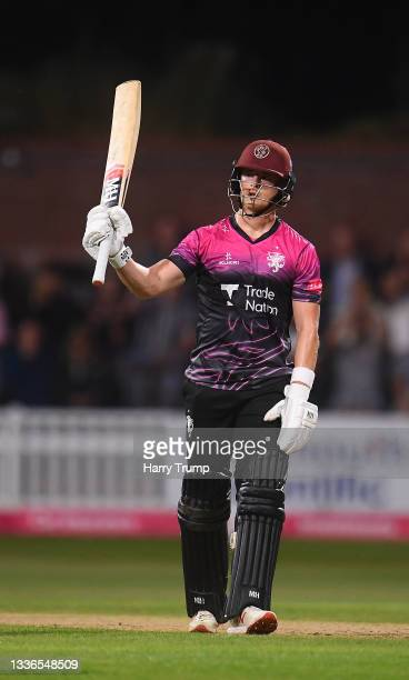 Tom Abell of Somerset celebrates their half century during the Vitality T20 Blast Quarter Final match between Somerset CCC and Lancashire Lightning...