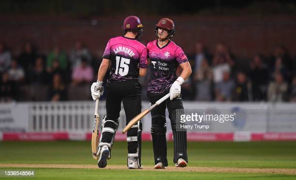 Tom Abell of Somerset celebrates their half century with team mate Tom Lammonby during the Vitality T20 Blast Quarter Final match between Somerset...