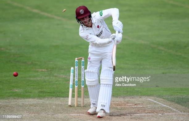 Tom Abell of Somerset is bowled by Keith Barker of Hampshire during Day Three of the Specsavers County Championship Division One match between...