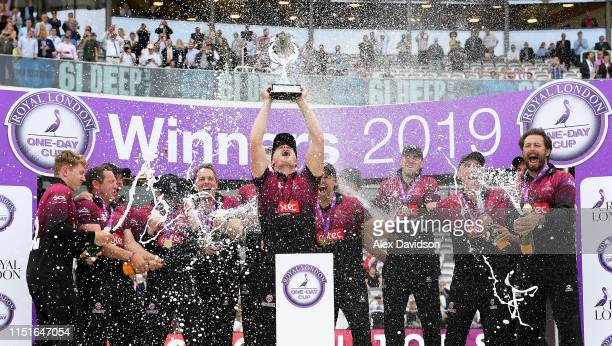 Tom Abell of Somerset lifts the Royal London One Day Cup trophy with his team during the Royal London One Day Cup Final match between Somerset and...