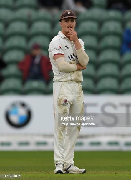 Tom Abell of Somerset looks on during the County Championship Division One match between Somerset and Essex on September 26 2019 in Taunton England