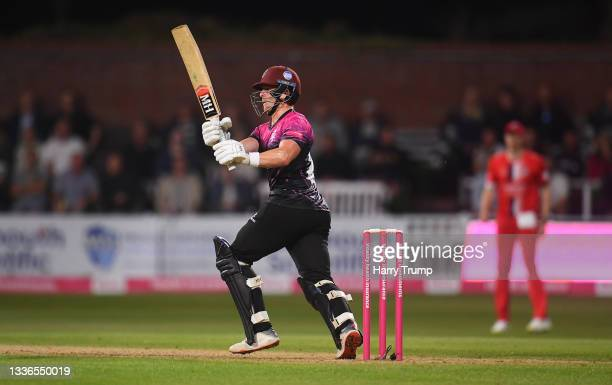 Tom Abell of Somerset plays a shot during the Vitality T20 Blast Quarter Final match between Somerset CCC and Lancashire Lightning at The Cooper...