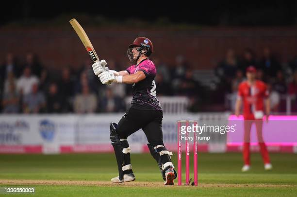 Tom Abell of Somerset plays during the Vitality T20 Blast Quarter Final match between Somerset CCC and Lancashire Lightning at The Cooper Associates...
