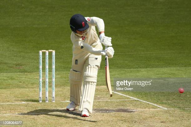 Tom Abell of the England Lions bats during the Four Day match between Australia A and the England Lions at Melbourne Cricket Ground on February 23...