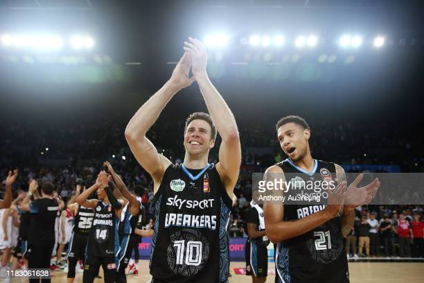 Tom Abercrombie and Brandon Ashley of the Breakers celebrate after winning the round four NBL match between the New Zealand Breakers and the...