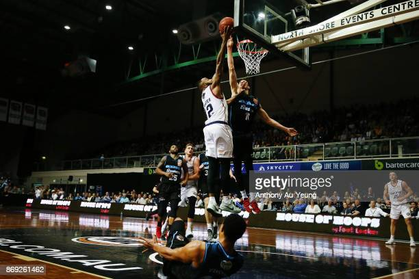 Tom Abercrombie of the Breakers blocks the shot from Shannon Shorter of the 36ers during the round five NBL match between the New Zealand Breakers...